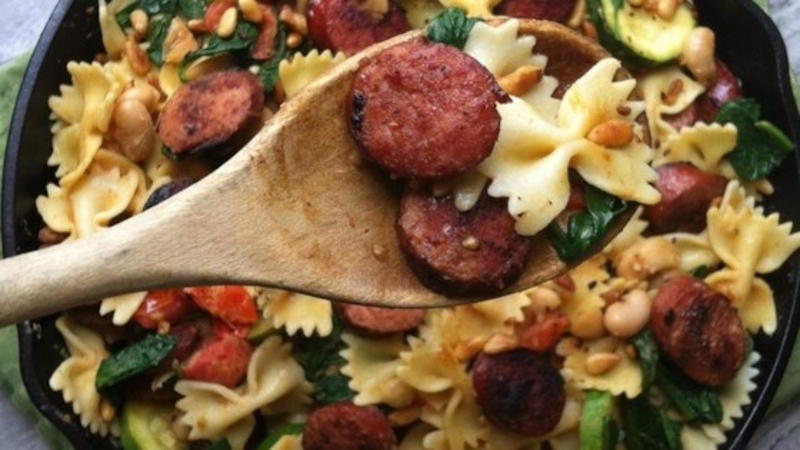 Smoked Sausage and Spinach Pasta with White Beans