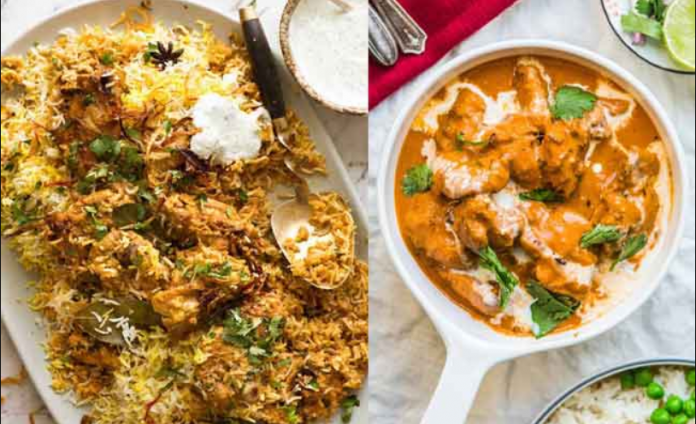 Biryani and Butter Chicken are the top searched Indian food dishes globally
